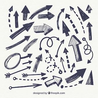 Pacote de flechas desenhadas à mão
