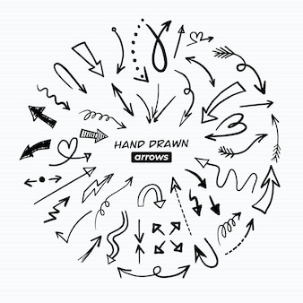 Pacote de flechas desenhado à mão