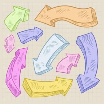 Pacote de flechas realistas desenhadas à mão