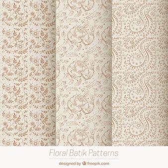 Pacote de flor do vintage esboça padrões