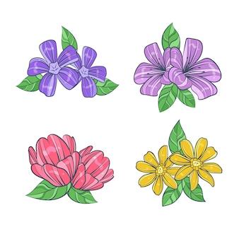 Pacote de flores coloridas mão desenhada