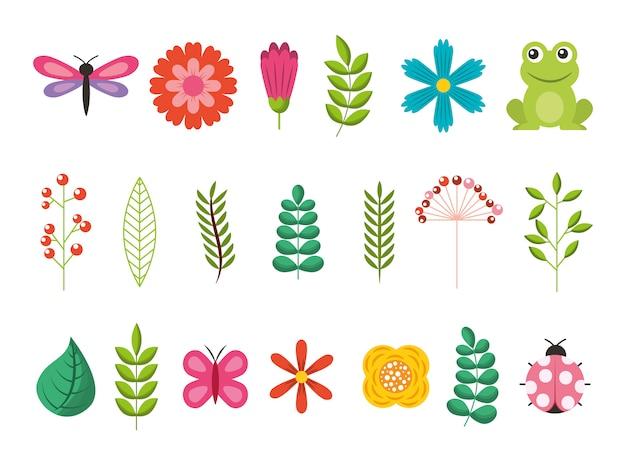 Pacote de flores com jardim de folhas e animais