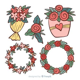 Pacote de flores de dia dos namorados mão desenhada