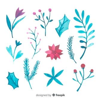 Pacote de flores de inverno desenhada mão