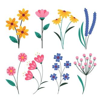 Pacote de flores de primavera de design plano