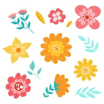Pacote de flores de primavera desenhado à mão