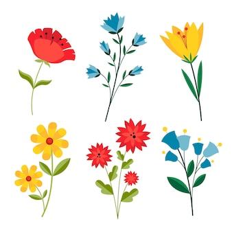 Pacote de flores de primavera desenhado