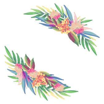Pacote de flores decorativas em design plano