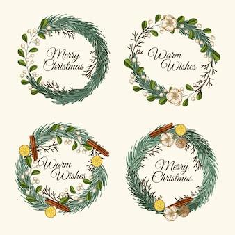 Pacote de flores e grinaldas de natal de mão desenhada