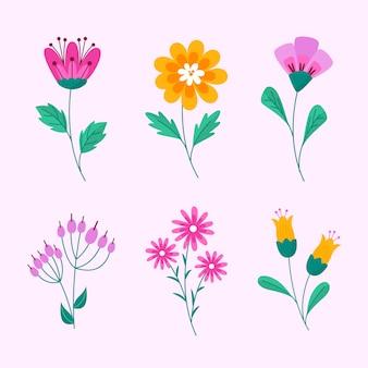 Pacote de flores lindas desenhadas à mão