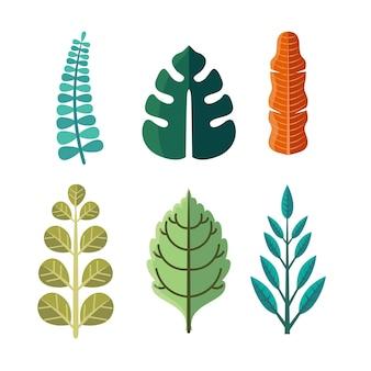 Pacote de folhas coloridas de design plano