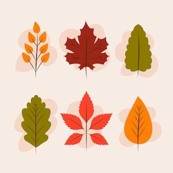 Pacote de folhas de outono de design plano