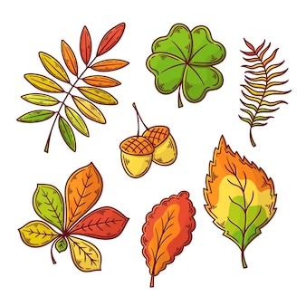 Pacote de folhas de outono desenhadas à mão