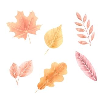 Pacote de folhas de outono estilo aquarela