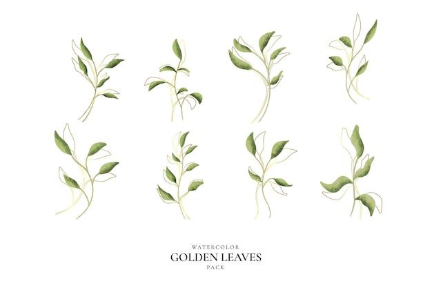 Pacote de folhas douradas em aquarela