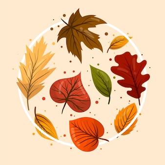 Pacote de folhas planas da floresta
