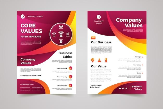 Pacote de folhetos de valores essenciais de gradiente