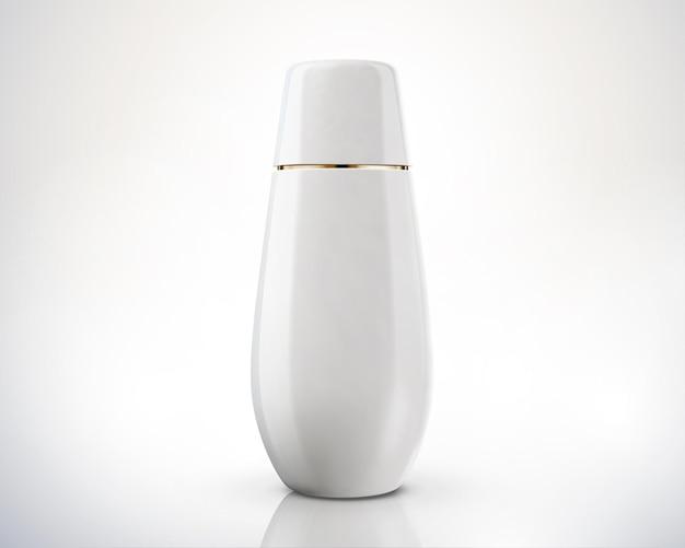Pacote de frasco cosmético branco isolado no fundo na ilustração 3d