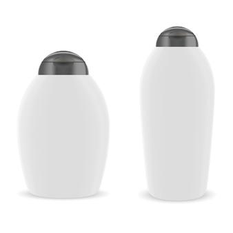 Pacote de frasco cosmético oval. coleção branca redonda.