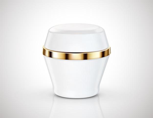 Pacote de frasco de creme de cor branca isolado no fundo na ilustração 3d