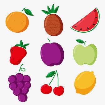 Pacote de frutas deliciosas desenhadas à mão