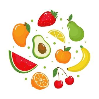 Pacote de frutas deliciosas planas orgânicas