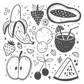 Pacote de frutas desenhadas à mão para gravura