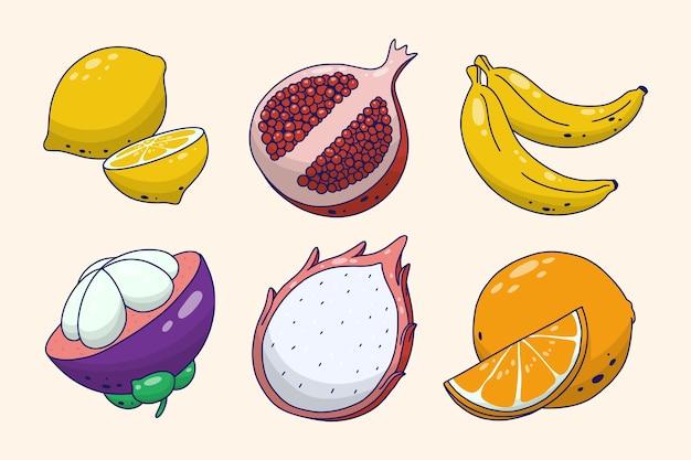 Pacote de frutas diferentes desenhado à mão