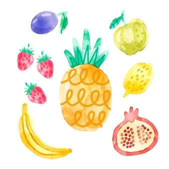 Pacote de frutas em aquarela pintada à mão