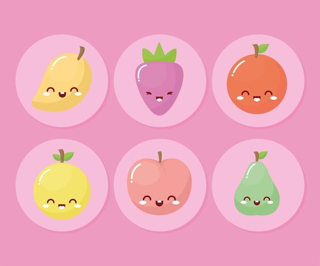 Pacote de frutas kawaii com um sorriso no fundo rosa.