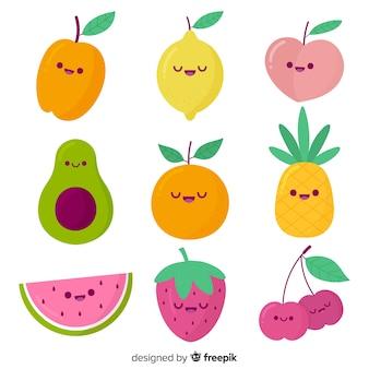 Pacote de frutas kawaii mão desenhada