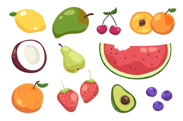Pacote de frutas saborosas desenhado à mão