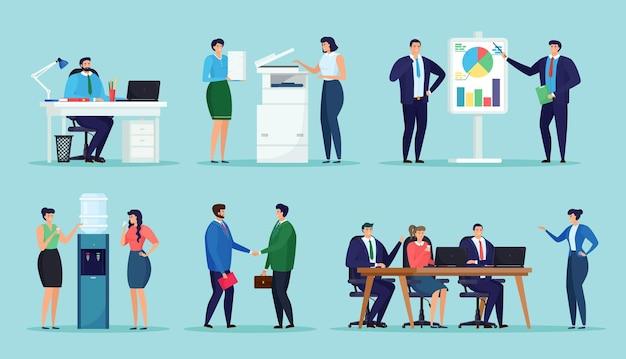 Pacote de funcionários de escritório masculinos e femininos, trabalhando no escritório.