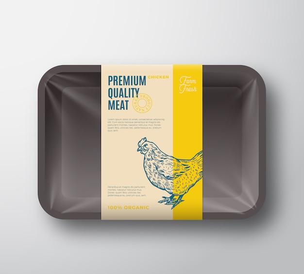 Pacote de galinha de qualidade premium. recipiente plástico da bandeja das aves domésticas abstratas do vetor com tampa do celofane.