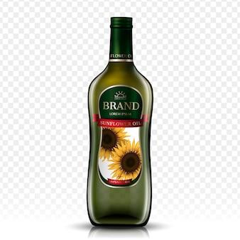 Pacote de garrafa de óleo de girassol, fundo transparente isolado