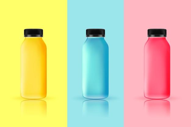 Pacote de garrafas de smoothies diferentes