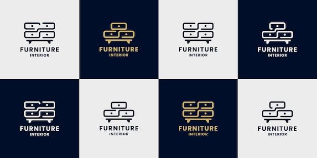 Pacote de gaveta de móveis logo design propriedade da casa