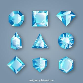 Pacote de gemas em tons azuis