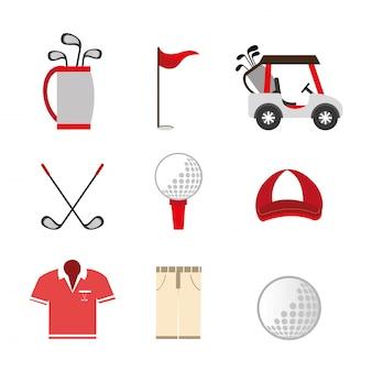 Pacote de golfe conjunto de ícones