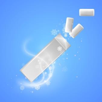 Pacote de goma de mascar refrescante de maquete de goma de mascar