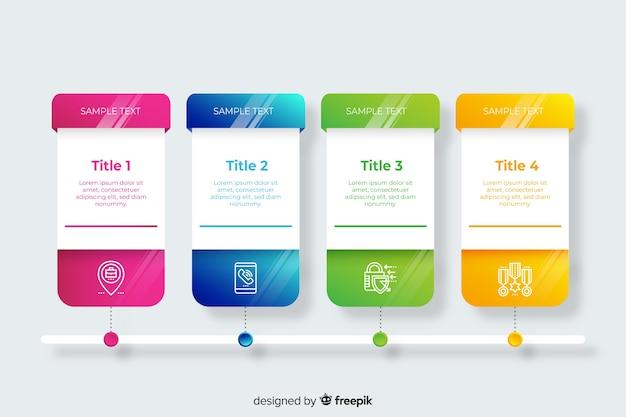 Pacote de gradiente infográfico passos