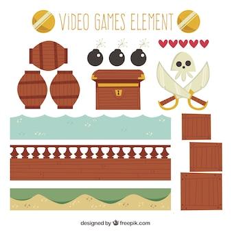 Pacote de grandes objetos do jogo de vídeo