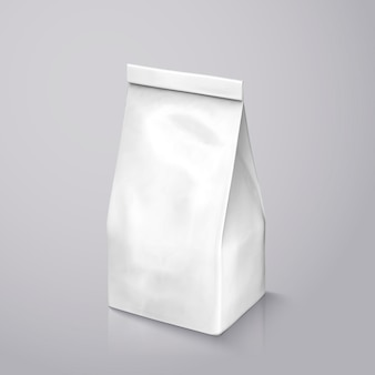 Pacote de grãos de café, pacote de folha branca pérola na ilustração para uso