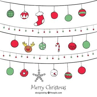 Pacote de guirlandas de natal com esferas desenhados mão