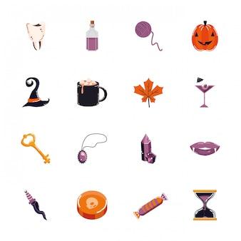 Pacote de halloween conjunto de ícones