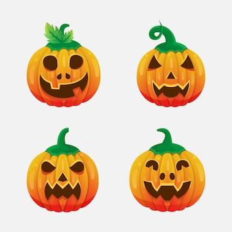 Pacote de halloween de abóbora de vetor
