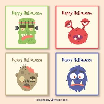 Pacote de halloween de cartas com monstros