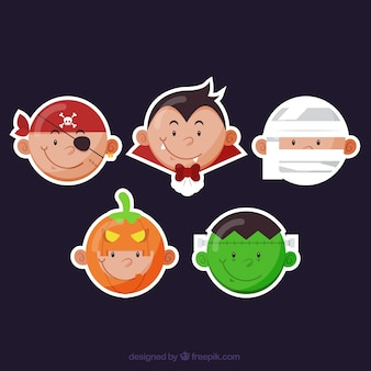 Pacote de halloween fantasiados personagens adesivos