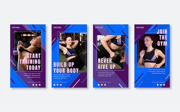 Pacote de história de fitness e saúde plana com foto