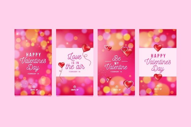 Pacote de história de venda de dia dos namorados adorável